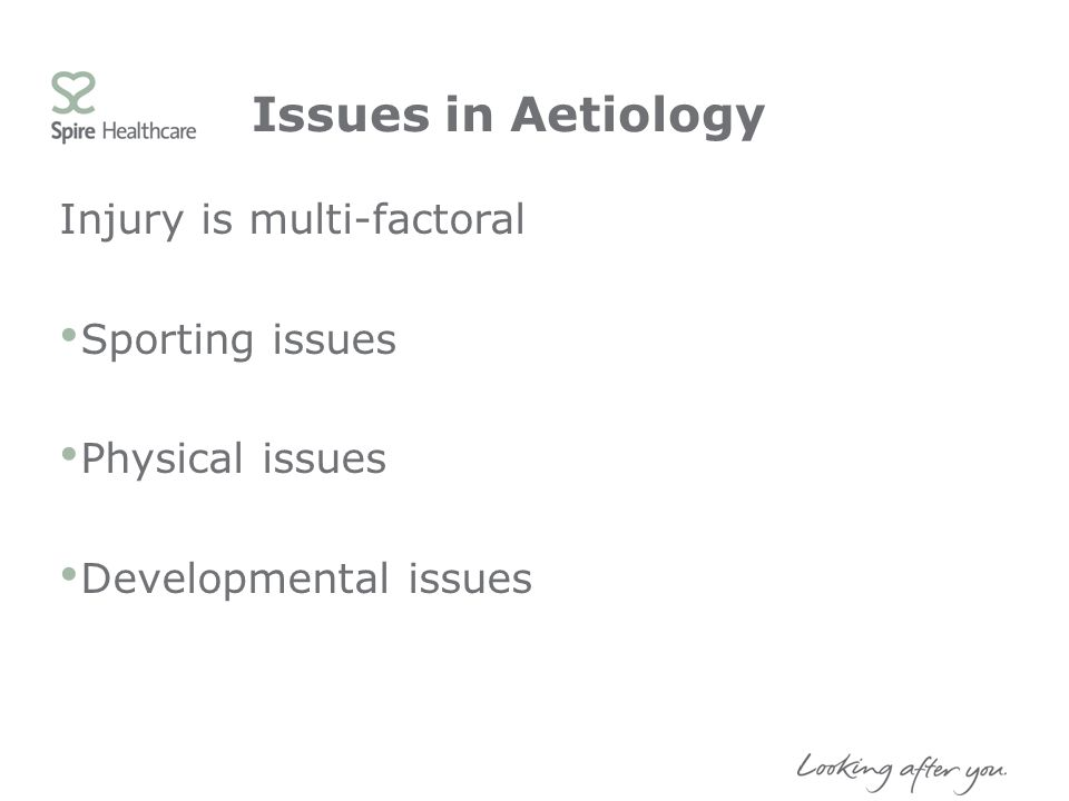 Issues in Aetiology Injury is multi-factoral Sporting issues