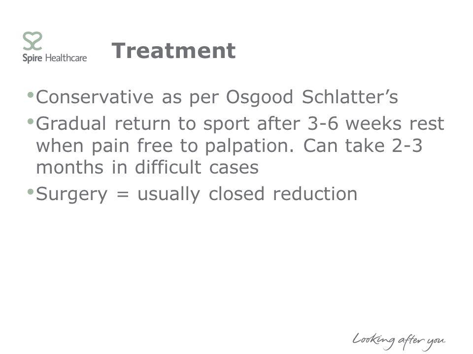 Treatment Conservative as per Osgood Schlatter's