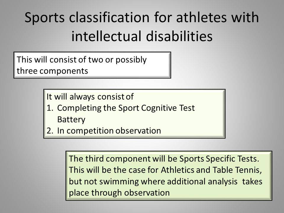 Sports classification for athletes with intellectual disabilities