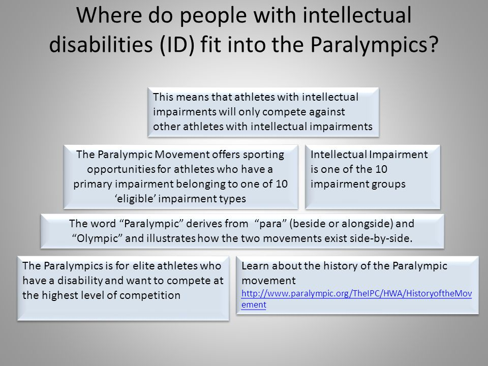 Where do people with intellectual disabilities (ID) fit into the Paralympics