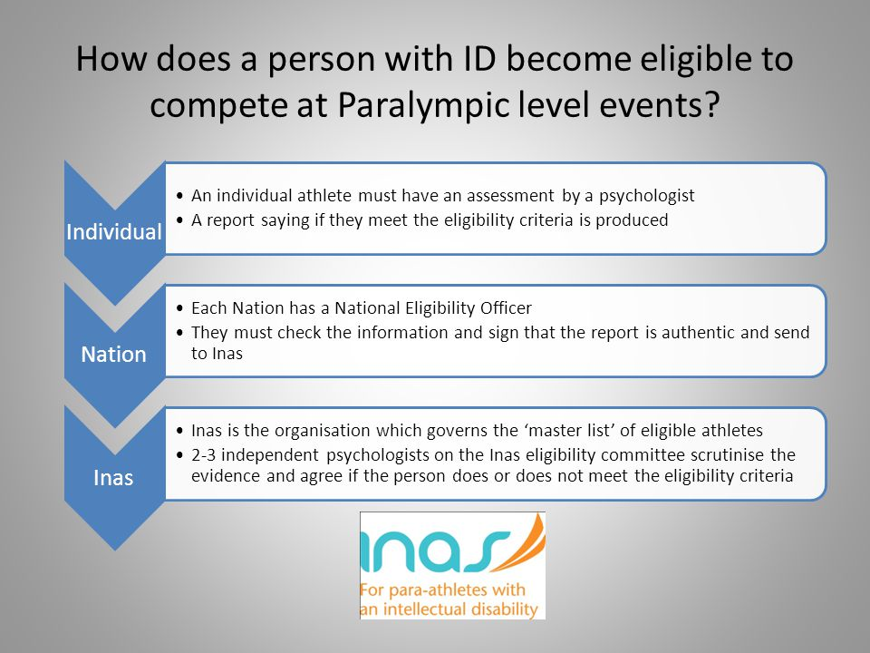 How does a person with ID become eligible to compete at Paralympic level events
