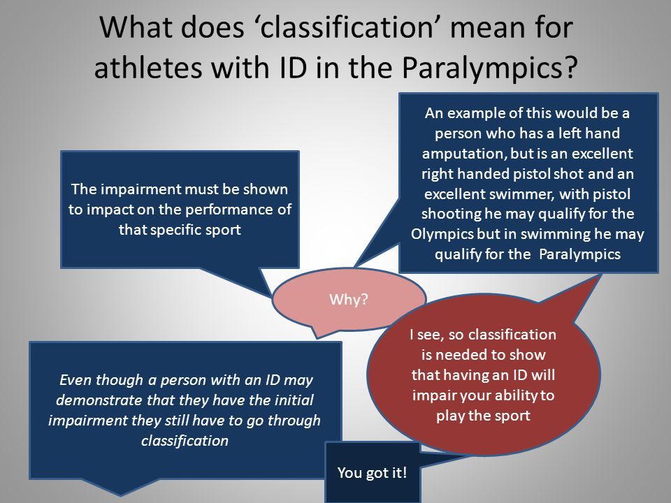 What does 'classification' mean for athletes with ID in the Paralympics