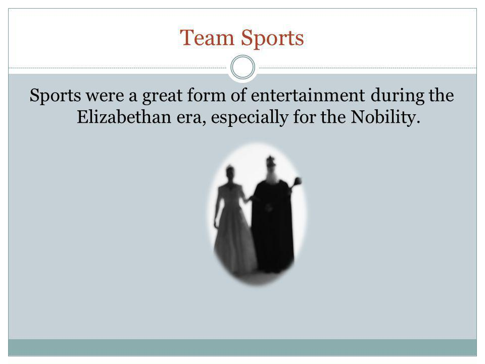 Team Sports Sports were a great form of entertainment during the Elizabethan era, especially for the Nobility.
