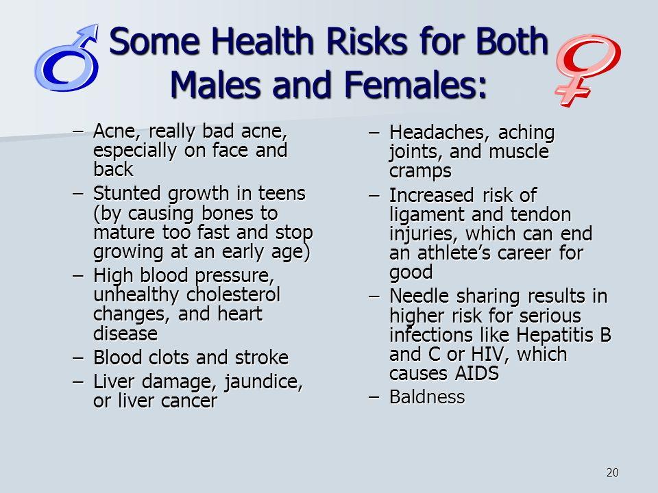 Some Health Risks for Both Males and Females: