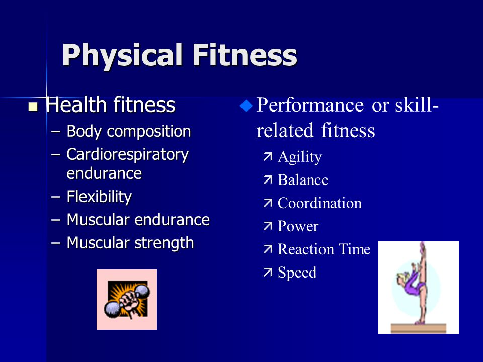 Physical Fitness Health fitness Performance or skill-related fitness