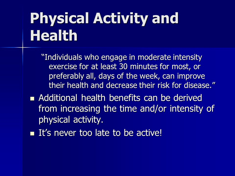 physical activity and its relationship to health