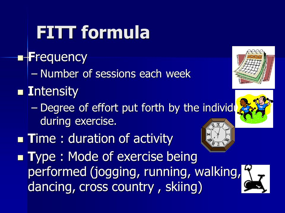 FITT formula Frequency Intensity Time : duration of activity