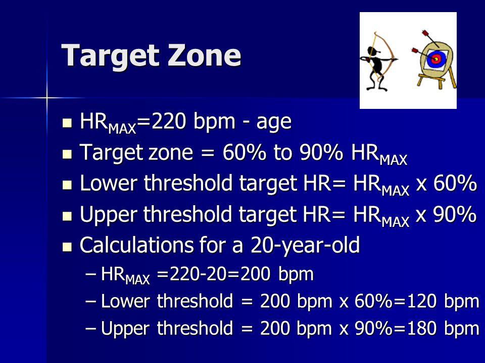 Target Zone HRMAX=220 bpm - age Target zone = 60% to 90% HRMAX