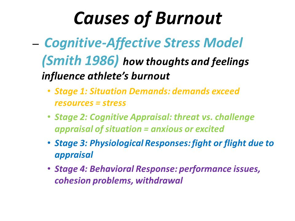 Causes of Burnout Cognitive-Affective Stress Model (Smith 1986) how thoughts and feelings influence athlete's burnout.