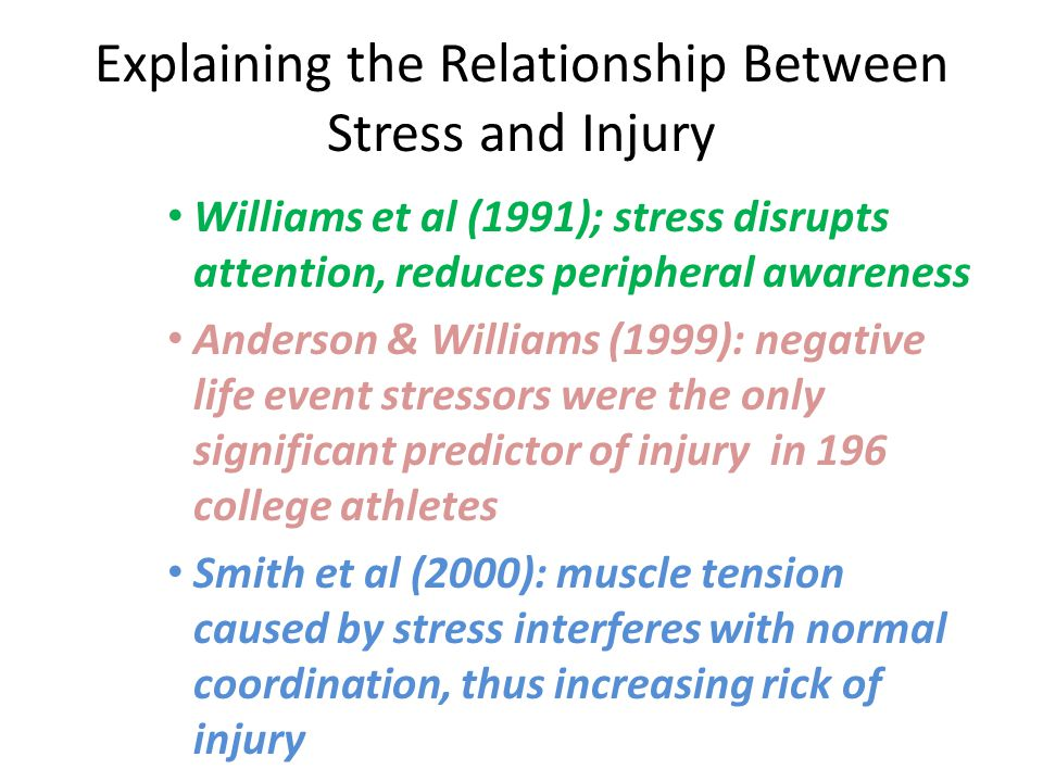 Explaining the Relationship Between Stress and Injury