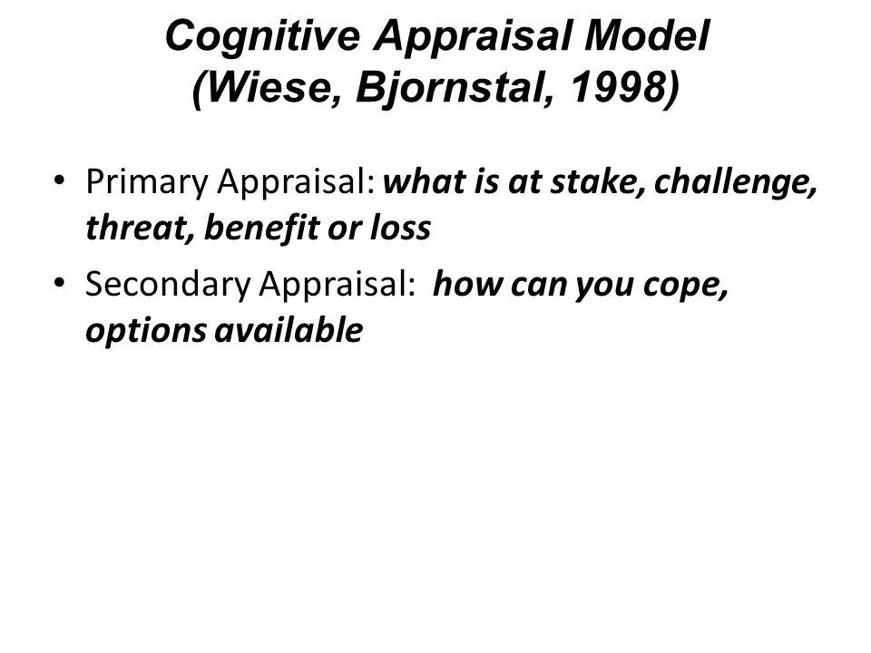 Cognitive Appraisal Model (Wiese, Bjornstal, 1998)