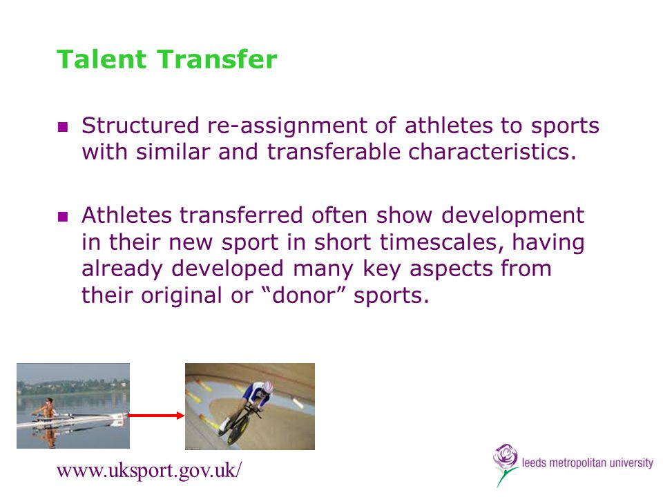 Talent Transfer Structured re-assignment of athletes to sports with similar and transferable characteristics.