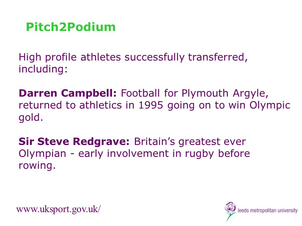 Pitch2Podium High profile athletes successfully transferred, including: