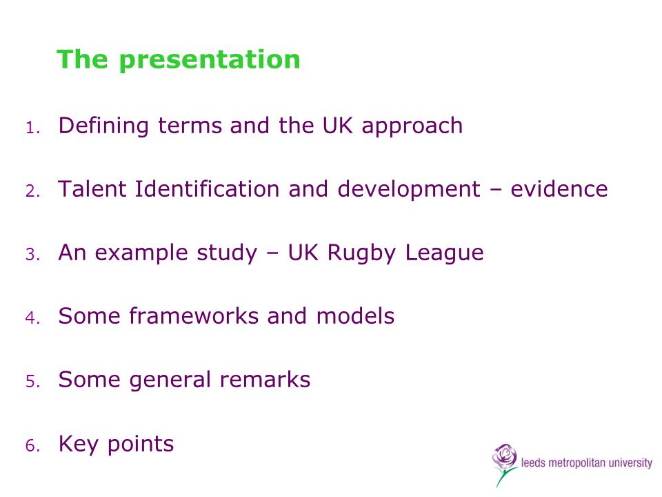 The presentation Defining terms and the UK approach