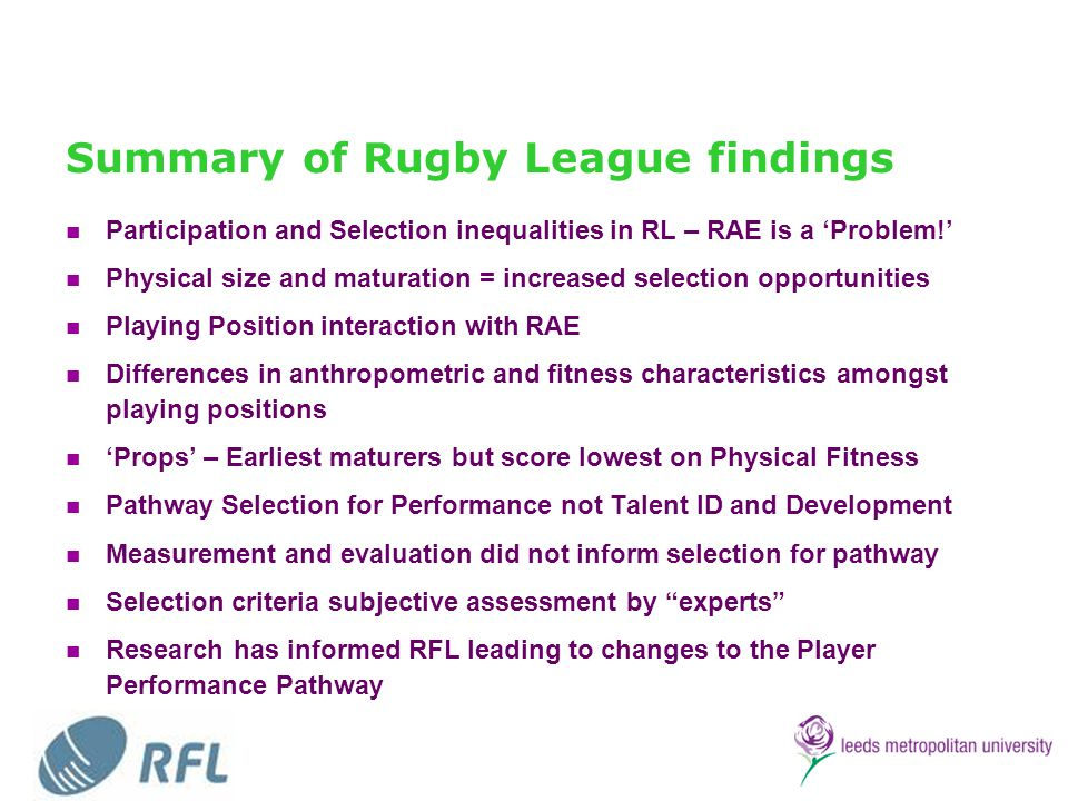 Summary of Rugby League findings
