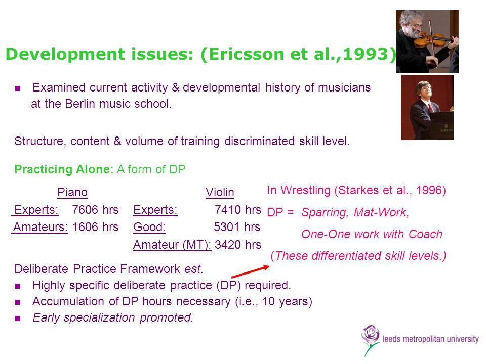 Development issues: (Ericsson et al.,1993).