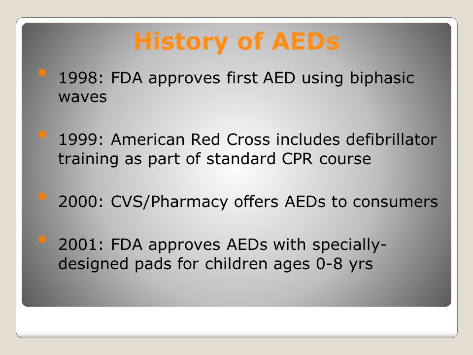 History of AEDs 1998: FDA approves first AED using biphasic waves