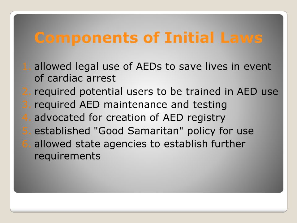 Components of Initial Laws