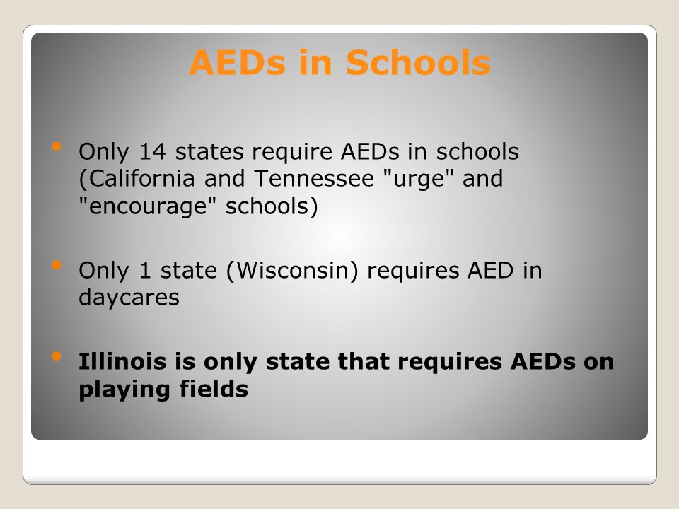 AEDs in Schools Only 14 states require AEDs in schools (California and Tennessee urge and encourage schools)
