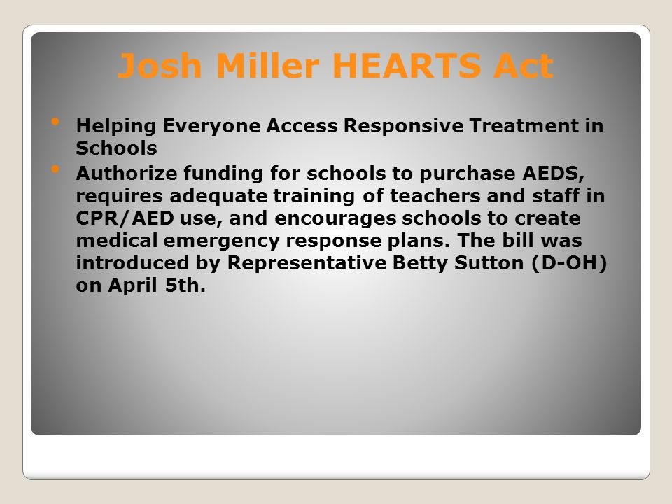 Josh Miller HEARTS Act Helping Everyone Access Responsive Treatment in Schools.
