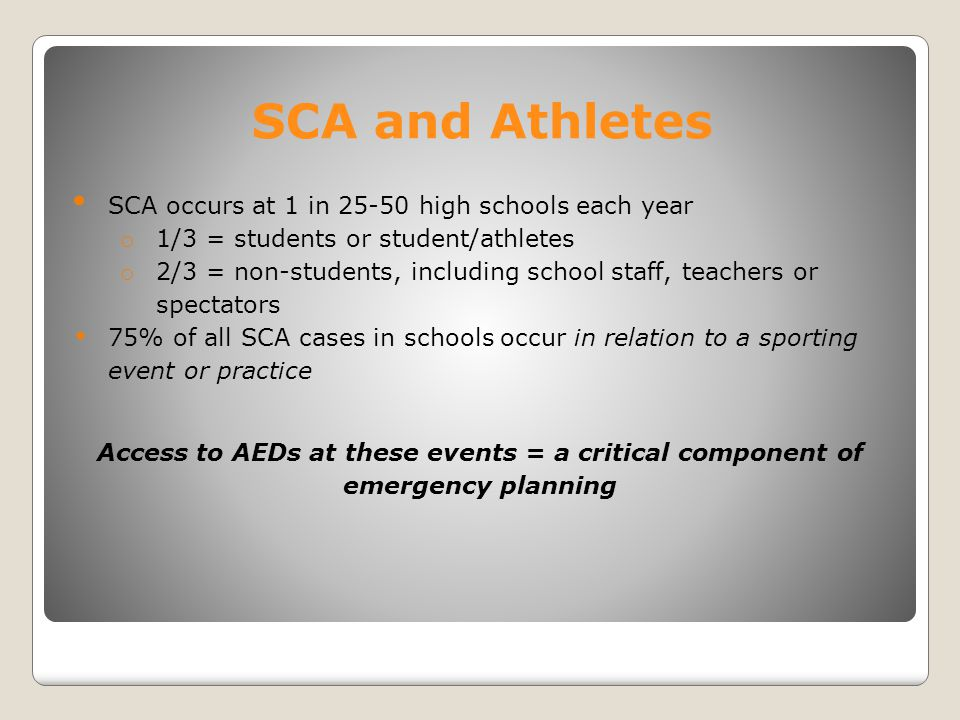 SCA and Athletes SCA occurs at 1 in 25-50 high schools each year