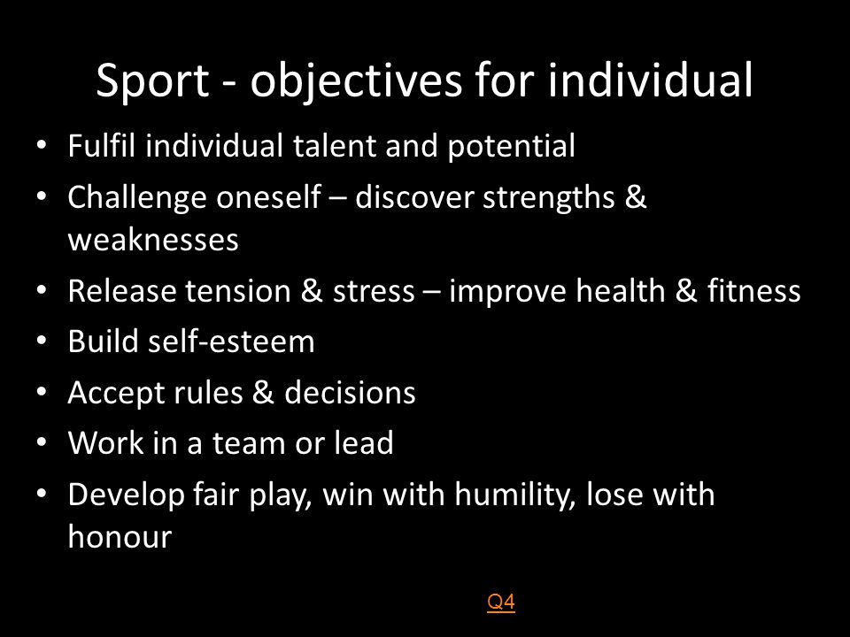 Sport - objectives for individual