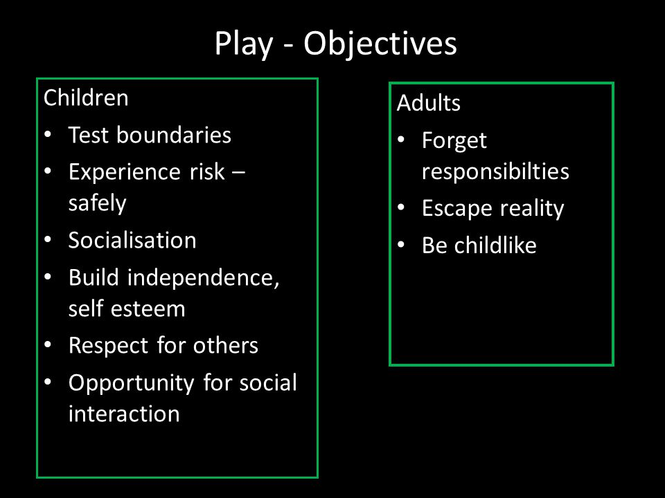 Play - Objectives Children Adults Test boundaries