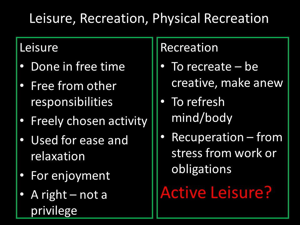 Leisure, Recreation, Physical Recreation