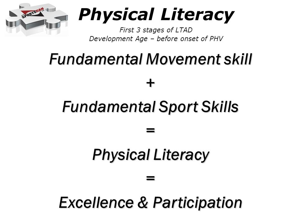 Physical Literacy First 3 stages of LTAD Development Age – before onset of PHV
