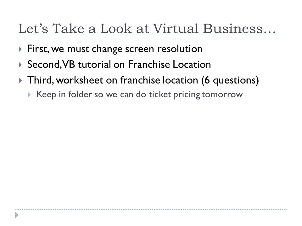 Let's Take a Look at Virtual Business…