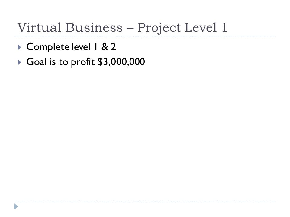 Virtual Business – Project Level 1