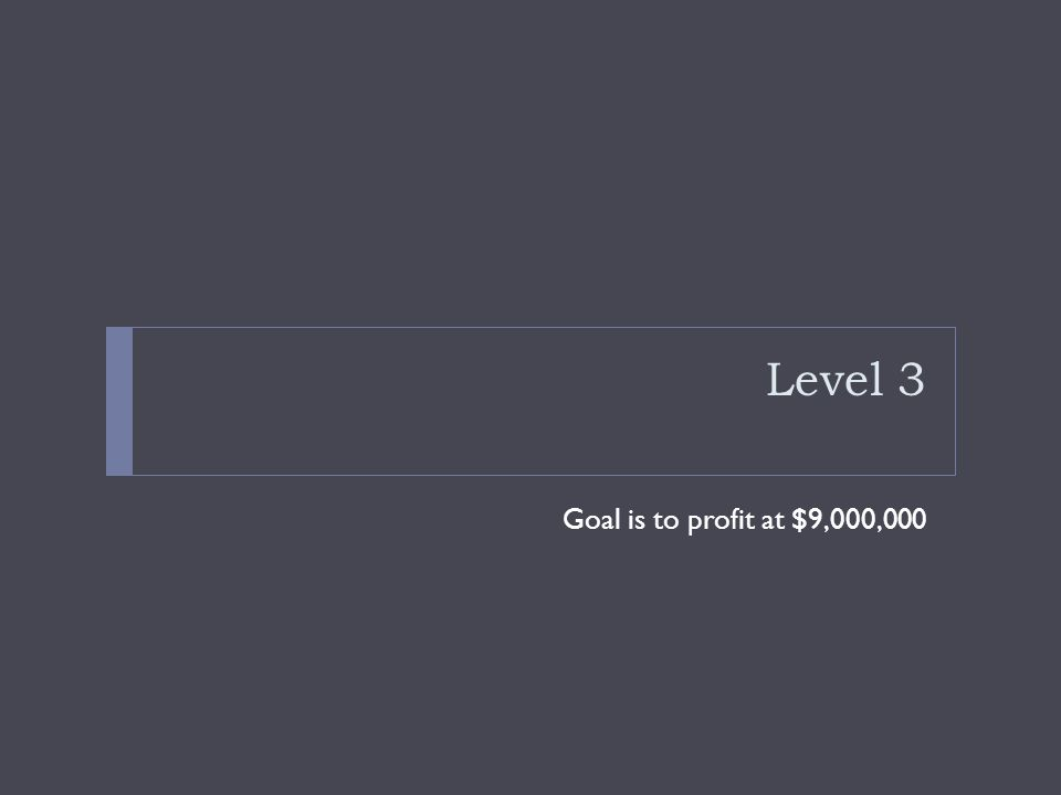 Level 3 Goal is to profit at $9,000,000