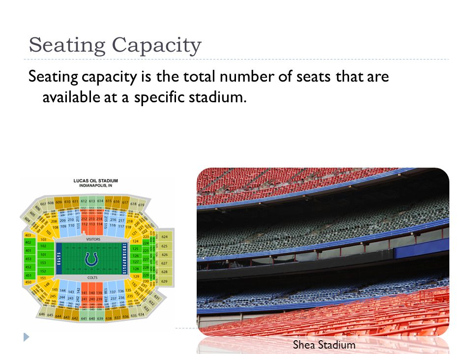 Seating Capacity Seating capacity is the total number of seats that are available at a specific stadium.