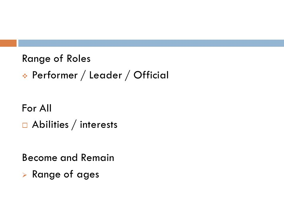 Range of Roles Performer / Leader / Official. For All. Abilities / interests. Become and Remain.