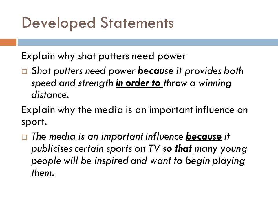 Developed Statements Explain why shot putters need power