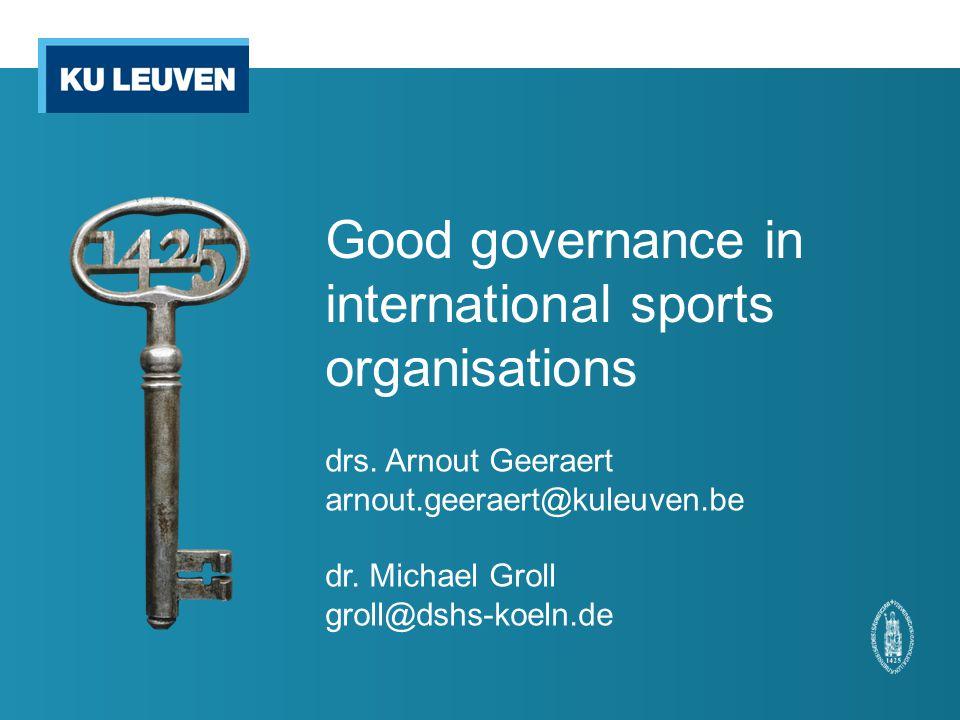 Good governance in international sports organisations