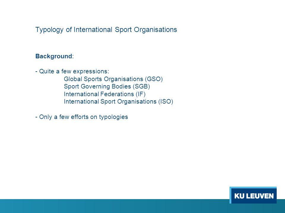 Typology of International Sport Organisations