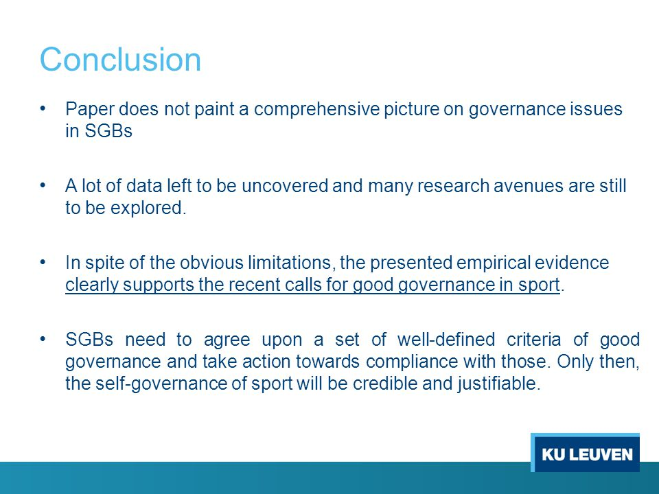 Conclusion Paper does not paint a comprehensive picture on governance issues in SGBs.