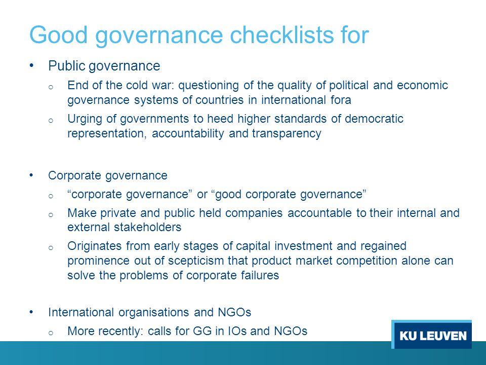 Good governance checklists for