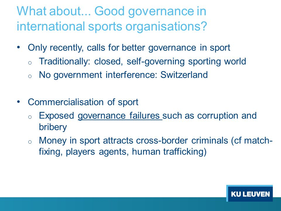 What about... Good governance in international sports organisations