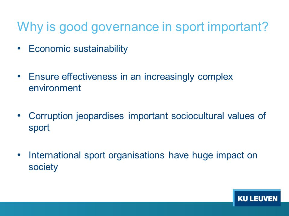 Why is good governance in sport important
