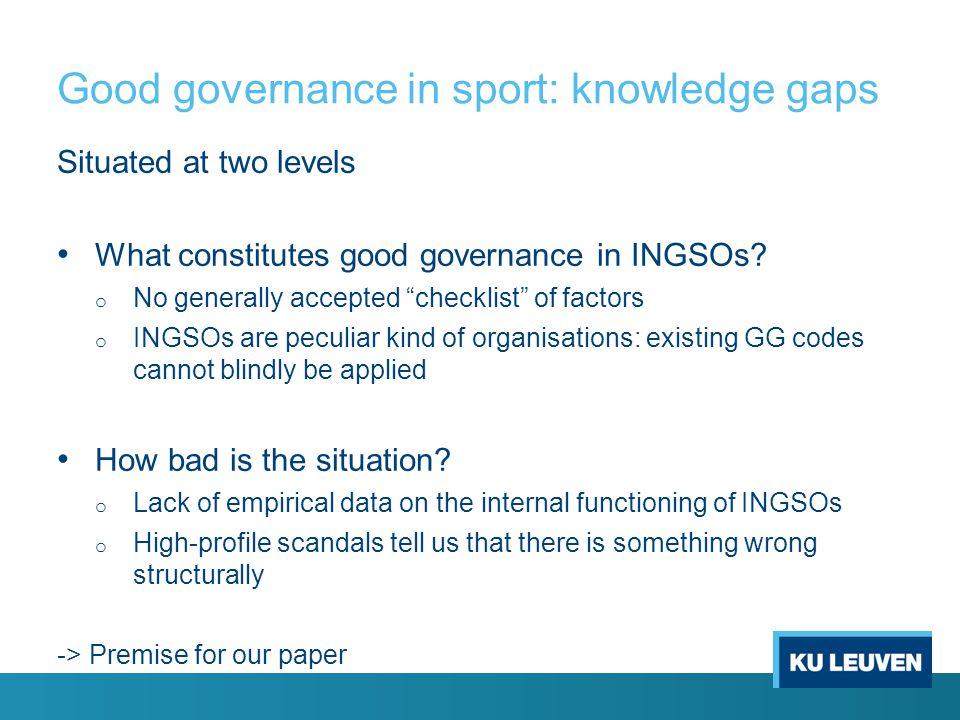 Good governance in sport: knowledge gaps