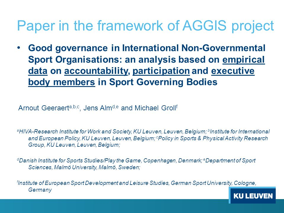 Paper in the framework of AGGIS project