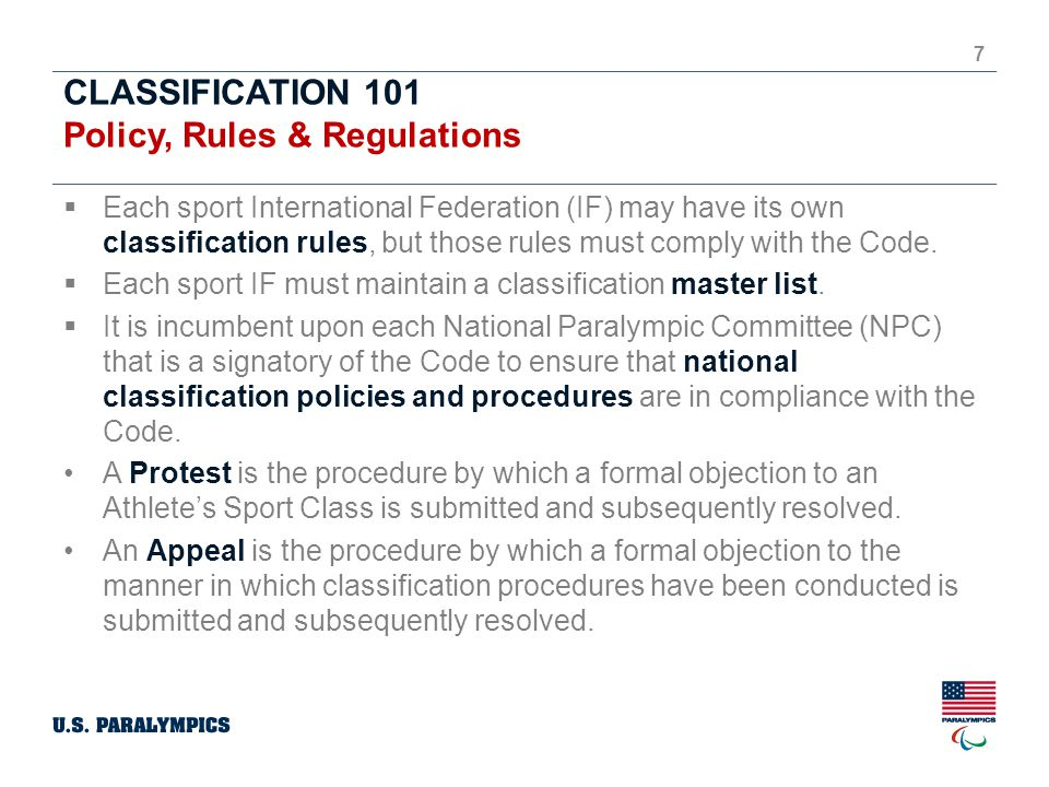 CLASSIFICATION 101 Policy, Rules & Regulations