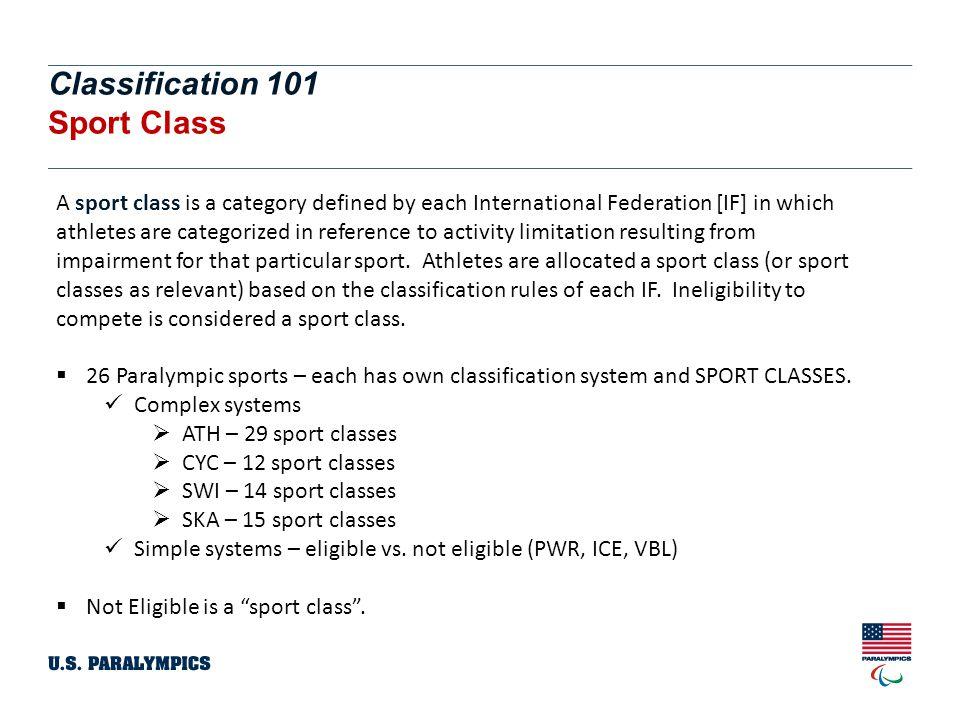 Classification 101 Sport Class