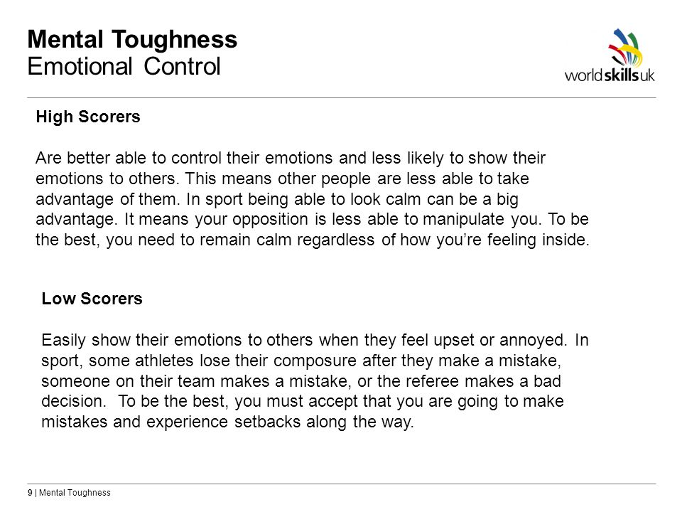 Mental Toughness Emotional Control