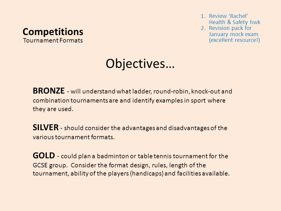 Competitions Tournament Formats Ppt Video Online Download