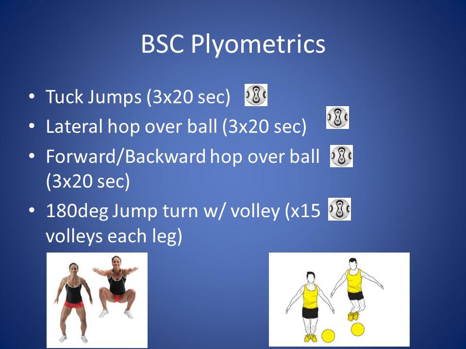 BSC Plyometrics Tuck Jumps (3x20 sec) Lateral hop over ball (3x20 sec)