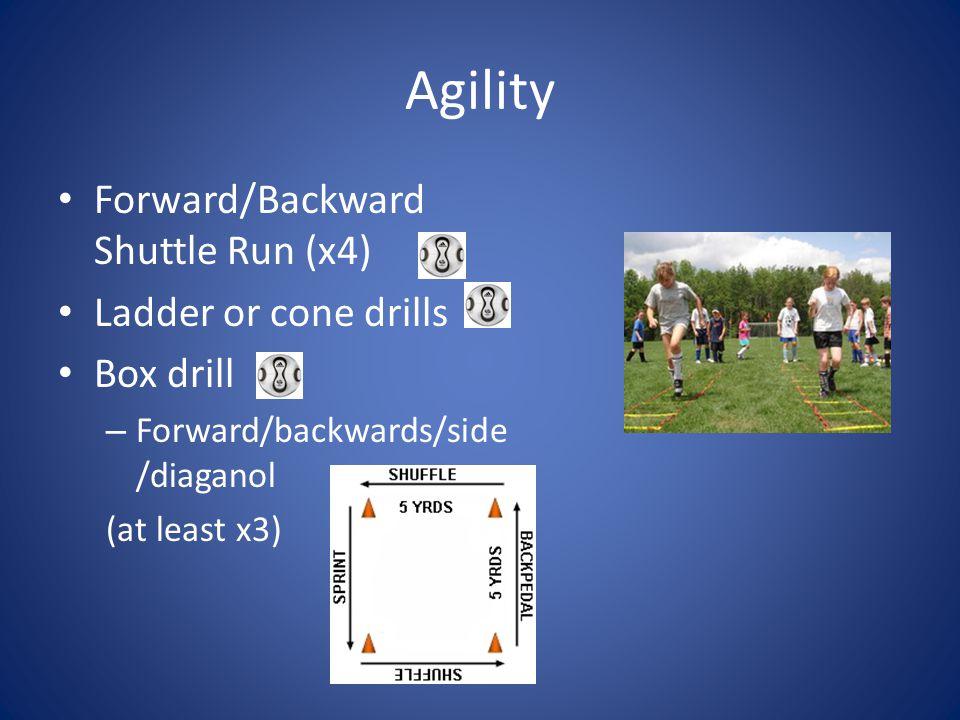 Agility Forward/Backward Shuttle Run (x4) Ladder or cone drills