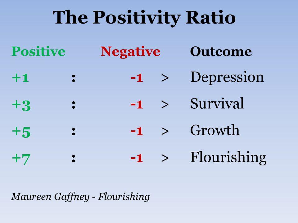 The Positivity Ratio +1 : -1 > Depression +3 : -1 > Survival